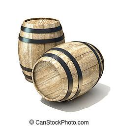 Wooden wine barrels. 3D render illustration isolated over...