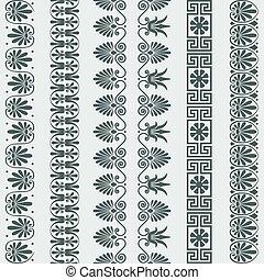 vector set Greek ornament Meander border - Set Traditional...