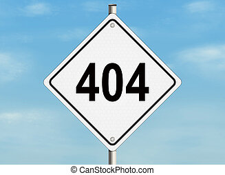 Error 404. A road sign on the sky background. Raster illustration.