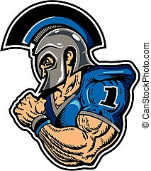 warrior football player - muscular warrior football player...