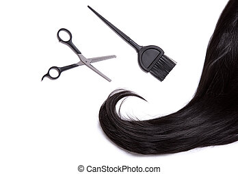 Black shiny hair with professional scissors and hair dye brush