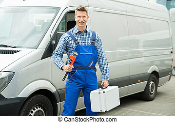 Worker With Work Tool And Toolbox - Happy Male Worker With...
