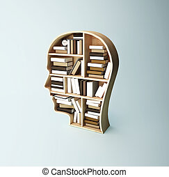 shelf head with book - shelf in form of head with book