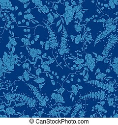 Vector Royal Blue Kimono Floral Texture Seamless Pattern...