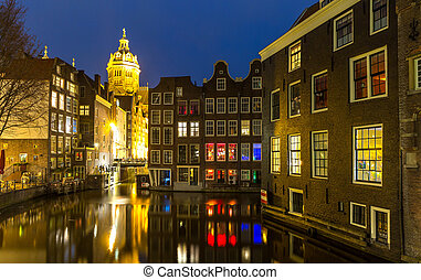 Amsterdam at night - Amsterdam Canals and Saint Nicholas...