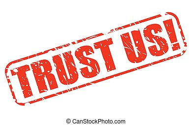 Trust us red stamp text on white