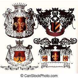 Vector set of hand drawn heraldic e - Heraldic shields set...
