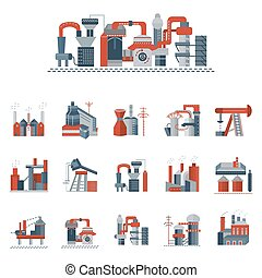 Industrial factories flat color vector icons - Set of red...