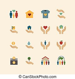 charity and donation silhouette colour icons flat line...