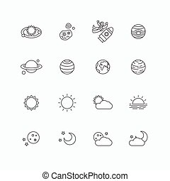 vector linear web icons set - space sun and moon collection of flat line design elements. universe concept.