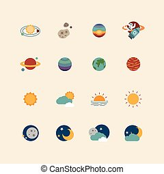 vector web icons set - space sun and moon collection of flat design elements. universe concept.