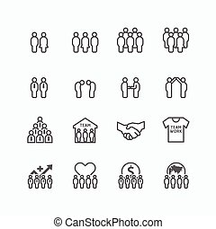 team and business silhouette icons flat line design vector...