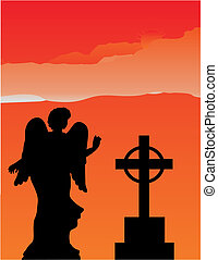 Angel silhouette in the firey sky - Angel statue and cross...