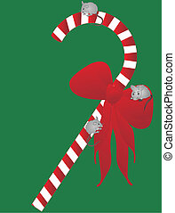 Yuletide candycane with 3 mice - 3 Mice, climbing on candy...