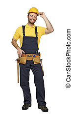contruction worker on white background