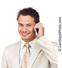 Portrait of a positive businessman using headset isolated on...