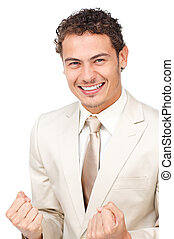 Succesful businessman punching the air in celebration
