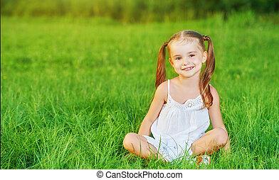 happy child little girl in white dress