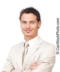 Portrait of a charismatic hispanic businessman against a...
