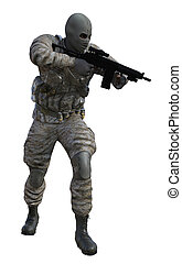 Soldier With Machine Gun - Render soldier with machine gun...