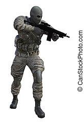 Soldier With Machine Gun - Render soldier with machine gun...