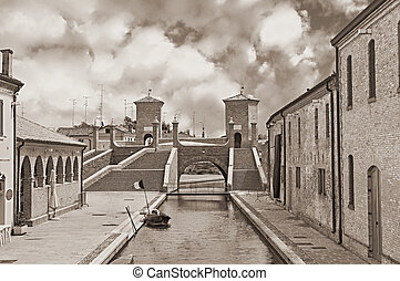 ancent bridge in Comacchio, Italy - the antique bridge...