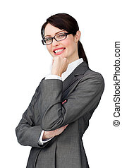 Assertive elegant businesswoman wearing glasses