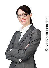 Radiant businesswoman wearing glasses