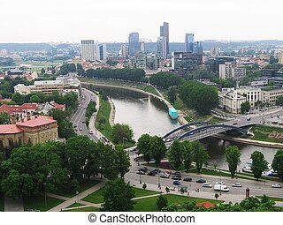 Landscape of Vilnius with skyscrapers. - River Neris in...