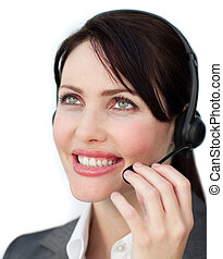 Blissful customer service agent using headset