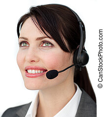 Bright customer service agent using headset against a white...