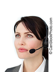 Self-assured businesswoman with headset on isolated on a...