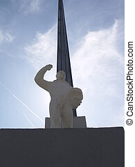 Monument to the landing place of the first cosmonaut Yuri...