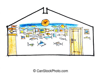 outline of a wall design for a fisherman - bright wall...