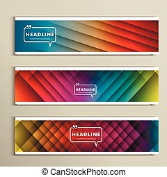 lines on a colored background. Set vector banners