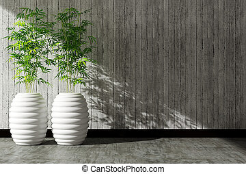 tree pot and wall interior decorated
