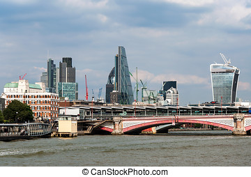 London Skyline - London skyline with Thames river,...