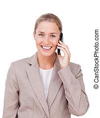Radiant female executive on phone