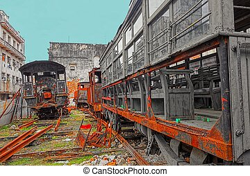 Rusty old locomotives and wagons - Rusty and old steam...
