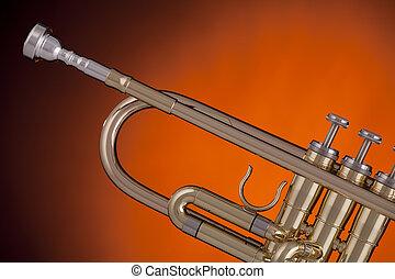 Trumpet Isolated on Gold Spotlight