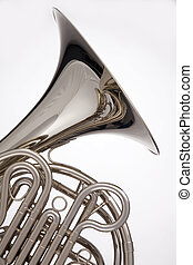 French Horn Silver Isolated On White - A professional silver...