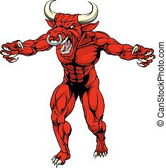 Red bull mascot claws out - An aggressive tough mean red...