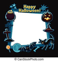Happy halloween greeting card with stickers characters and...