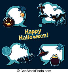 Happy halloween speech bubbles with stickers characters and objects
