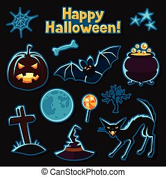 Happy halloween sticker set with characters and objects