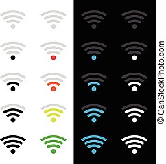 Wireless technology icons - Set of different wireless...