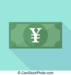 Long shadow banknote icon with a yen sign - Illustration of...