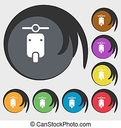 motorcycle icon sign Symbol on eight colored buttons Vector...