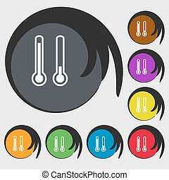 thermometer temperature icon sign. Symbol on eight colored buttons. Vector