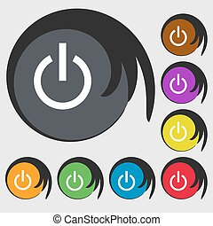 Power icon sign. Symbol on eight colored buttons. Vector